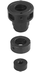 Attachment heads for button dies, intermediate rings, guide bushings